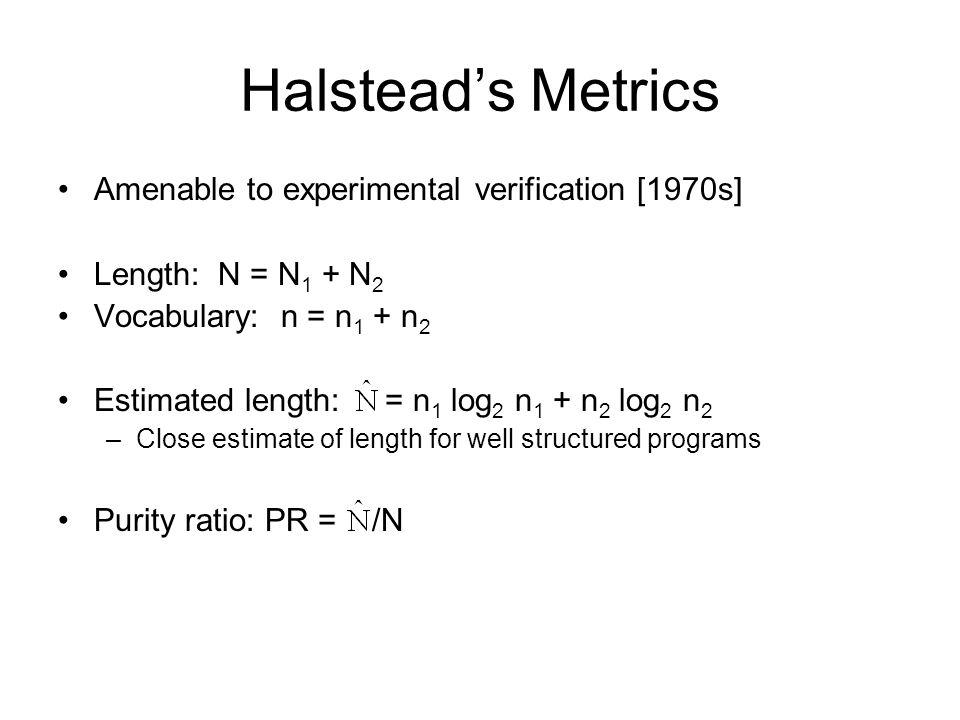 Halstead's Metrics Amenable to experimental verification [1970s]